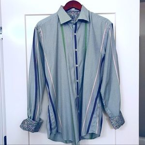 Bugatchi Shirts - Men's Bugatchi Multi Striped Long Sleeved Shirt